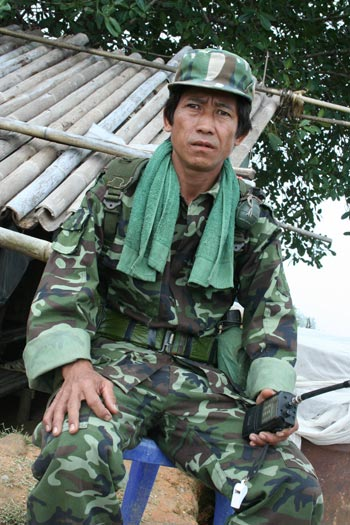 Lt. So Reh, is a Karenni Army tactical officer at Nyar Mon Base.Twice, he has chosen to stay behind to continue his army service while his family has resettled to a foreign country. Photo: Kantarawaddy Times.