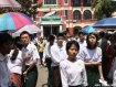 Candidates appearing for the Matriculation examination coming out after the first day's exam in Rangoon. Photo: Myo Thein/Mizzima.