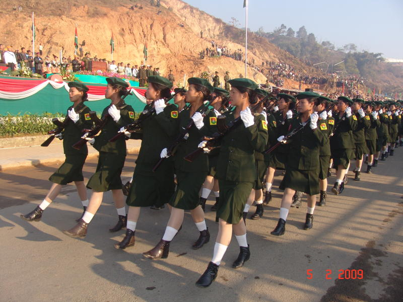 Women soldiers on parade during the 48th Kachin Revolution Day