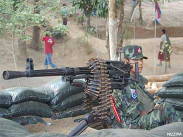 A Karen National Liberation Army (KNLA) soldier mans a heavy machine gun at the front line of a 60-year conflict in this undated photo. Photo: Mizzima