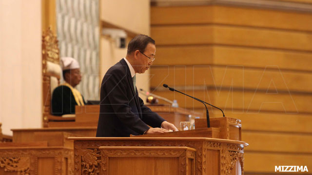 U.N. Secretary-General Ban Ki-moon addresses the Burmese Parliament. Photo: Mizzima