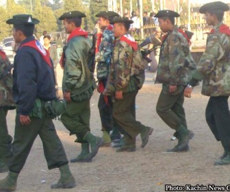 Burmese troops who are securing Myitkyina, the capital of Kachin state.