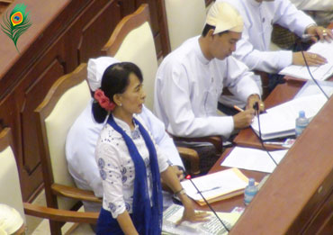 Burmese opposition leader Aung San Suu Kyi speaks to the Lower House of Parliament in Naypyitaw in July 2012. Suu Kyi called for laws to protect the rights of ethnic minorities in her inaugural speech to the Parliament. Photo: Mizzima