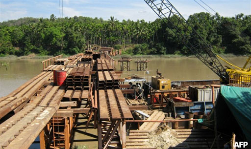 Construction underway on a bridge in the Dawei deep-sea port special economic zone. Photo: AFP