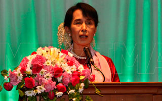 Opposition leader Aung San Suu Kyi speaks at The Art of Freedom film festival in Rangoon in this file photo. Photo: Mizzima
