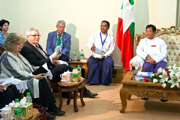 A European delegation meets with the chairman of the Election Commission Tin Aye, right, in this file photo. Photo: European Commission