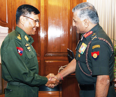Army Chief Gen VK Singh with Lt Gen Hla Htay Win, Joint Chief of Staff of Defence Services, Republic of the Union of Myanmar (Photo: Sainik Samachar)