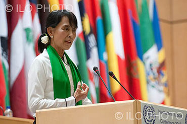 Aung San Suu Kyi addresses the International Labour Organization in Geneva during her European tour in June. Photo: ILO