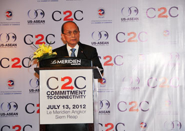Burmese President Thein Sein speaks during the US-Asean business forum and dinner in Siem Reap in July.  Photo: President's Office
