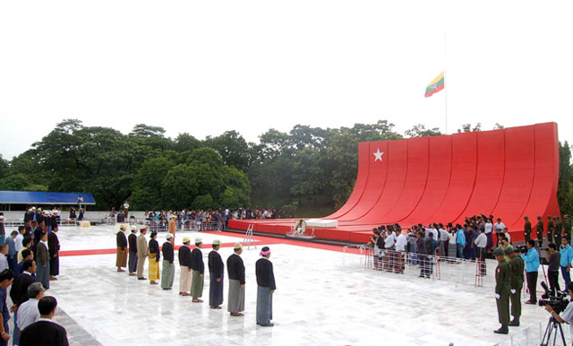 The scene at the Martyrs Mausoleum in Rangoon during ceremonies to honour the fallen heroes of the nation. Photo: President's office