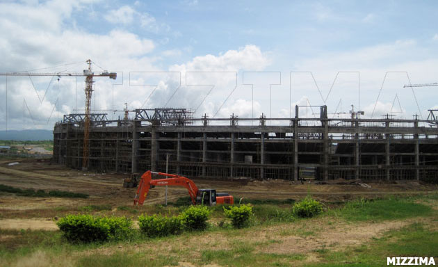 The Naypyitaw Sports Centre Project under construction. Significant construction work remains to be done to complete preparations for the 2013 SEA Games, which are scheduled to be held in Naypyitaw. Photo: Mizzima