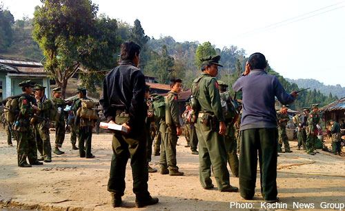 A new KIA members in a basic military training center near its Laiza headquarters in eastern Kachin state, Northern Burma.