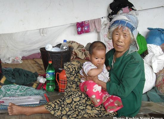 Kachin war IDPs in Laying camp in Chinese territory, opposite Loije border town in Kachin state, Northern Burma.