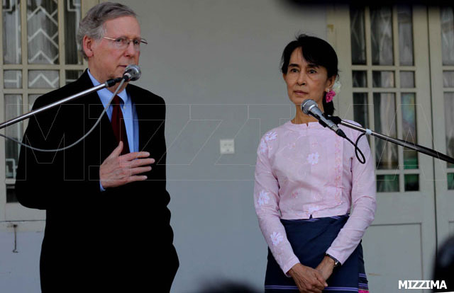 US Sen. Mitch McConnell and Aung San Suu Kyi at her home in Rangoon in June. The US Senate is now considering the extension of trade sanctions on Burma. Suu Kyi has asked McConnell to work to remove more sanctions. Photo: Mizzima