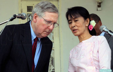 Influential US Sen. Mitch McConnell and Aung San Suu Kyi in Rangoon in January. Photo: Mizzima