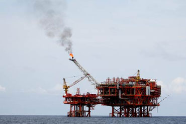 The Yetagun gas platform offshore Burma in the Andaman Sea. Photo: kyspeaks.com