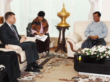 Minister of Finance and Revenue Hla Tun with a European delegation. Photo: spgroff / flickr