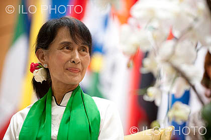 Aung San Suu Kyi at the ILO meeting in Geneva, Switzerland, the first stop on her two-week tour of European cities, marking her return to Europe after nearly 25 years, much of that period spent under house arrest in Burma. Photo: ILO