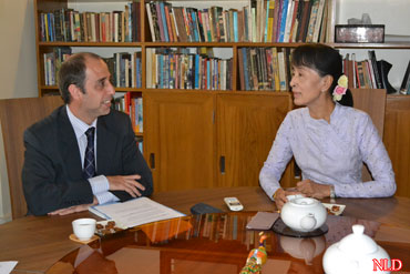 United Nations human rights envoy Tomas Ojea Quintana meets with Burmese opposition leader Aung San Suu Kyi at her  home in Rangoon on Thursday, August 2, 2012. The UN special rapporteur on Burma arrived on Sunday. He has visited Rakhine State and is scheduled to visit Kachin State on Friday. Photo: NLD