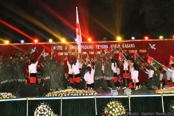 Kachin youth preform for a relief concert held in the Hpakant jade mining area of Kachin state on May 15 and 16.