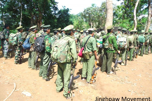 Kachin Independence Army troops in the frontline in eastern Kachin state. Photo: Jinghpaw Movement.