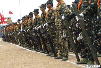 SSA South troops line up for review. Photo: Mizzima