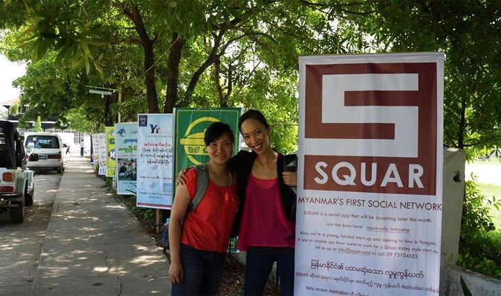 Squar Co-founders Rita Nguyen (right) and Quynh Anh Nguyen (left) at a BarCamp conference in Pyay, Myanmar. Photo: SQUAR / Facebook