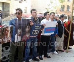 Demonstrators at the Thai Embassy in New York Demand Justice for Koh Tao Suspects